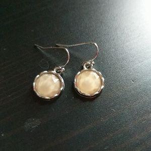 Cream gem dangle earrings